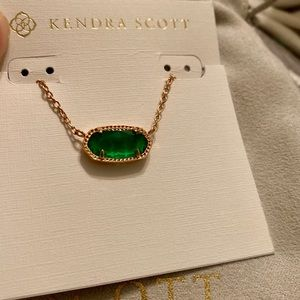 NWT Elisa RoseGold Necklace w/ Emerald Cat's Eye
